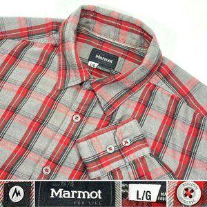 Marmot Mens Sz L Plaid Button Front Flannel Shirt